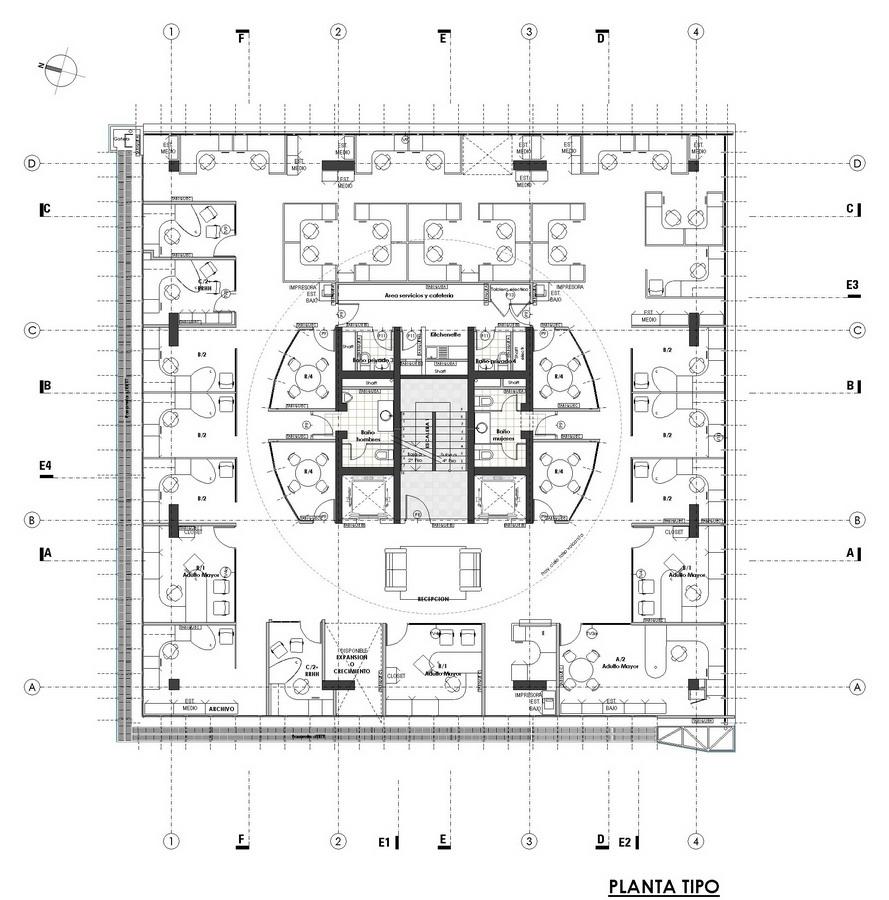 plano de edificio de oficinas