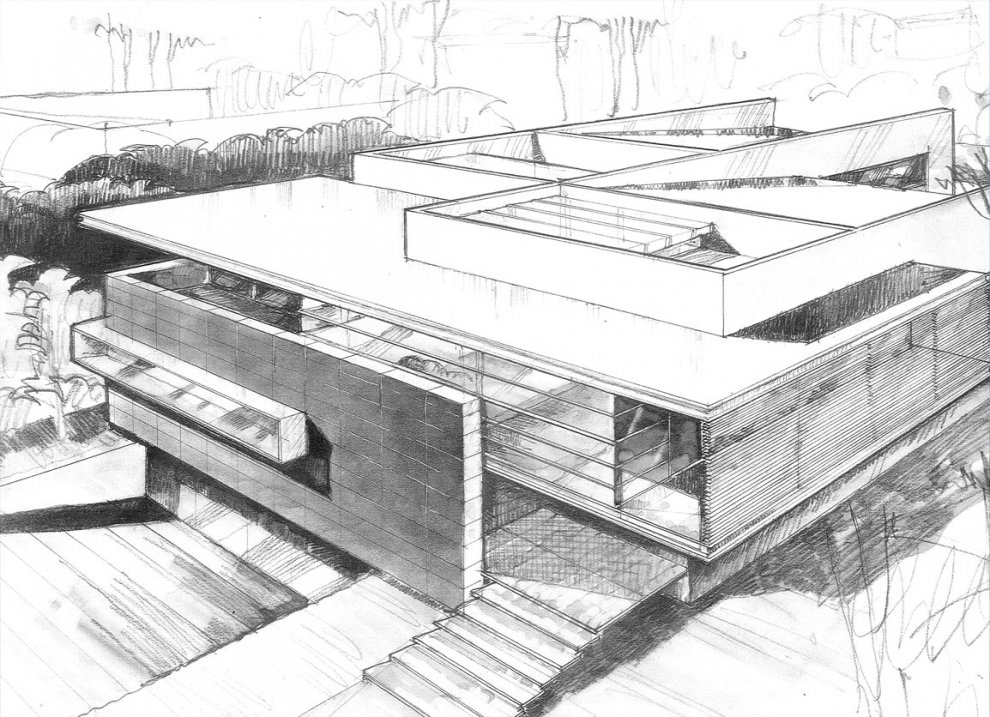 Godoy house hernandez silva arquitectos mexico for Architecture modern house design 2 point perspective view